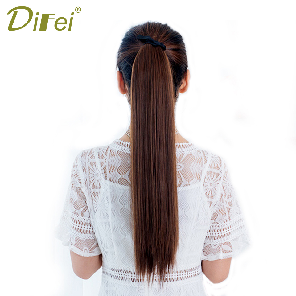 DIFEI Synthetic Clip in Drawstring Ponytail Hairpieces for Women Heat Resistant Silky Long Straight Pony Tail Hair Extensions