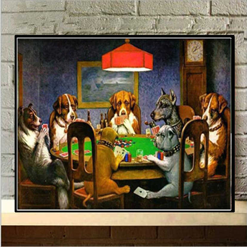 "5D DIY Diamond Painting Full Square/Round Drill ""Playing poker dogs"" Embroidery Cross Stitch Mosaic Home Decor Gift NEW336"