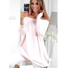 Для женщин зимний свитер с открытыми плечами одноцветное Свитеры для женщин длинные Пуловеры для женщин пикантные трикотаж с длинным рукавом Перемычка тянуть роковой WS1223X