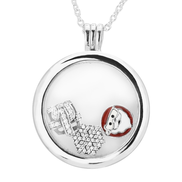 Latest Large floating locket silver necklaces & pendants with parts 925 sterling-silver-jewelry European Women Style N12028D