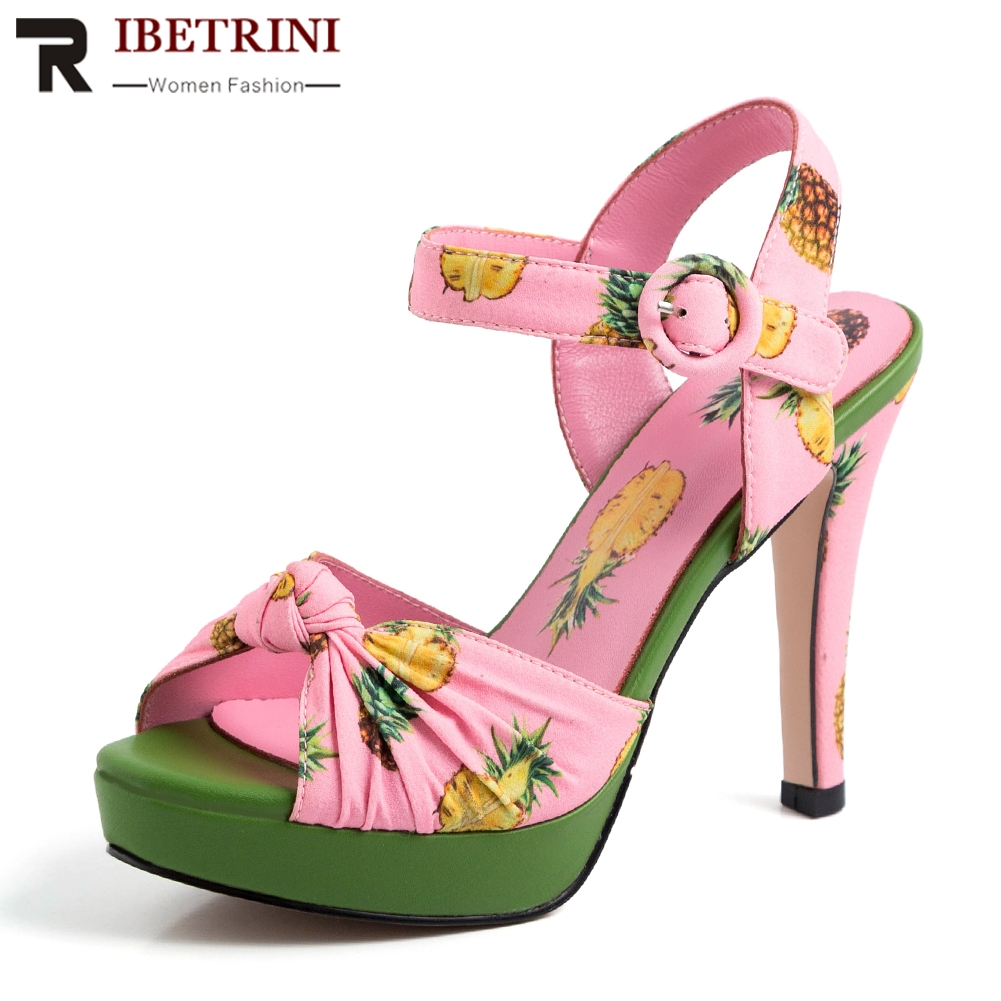 RIBETRINI Brand Design Luxury Print Genuine Leather Women Shoes Sandals Woman 2019 Sexy High Heels Party Wedding Woman SandalsRIBETRINI Brand Design Luxury Print Genuine Leather Women Shoes Sandals Woman 2019 Sexy High Heels Party Wedding Woman Sandals