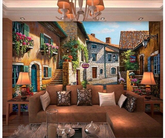 Photo Wallpaper 3D Wallpaper Mural Living Room TV Background Wallpaper  Bedroom European Style Small Town Oil