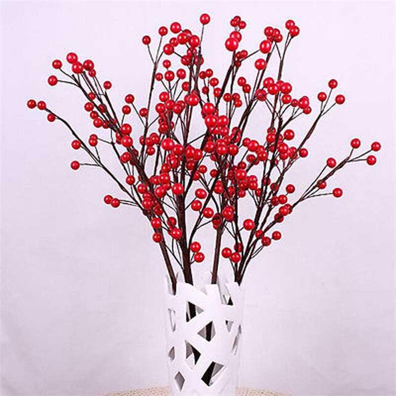 Hot Sale Beautiful 100pcs Bouquet Artificial Red Berry Bouquet Flowers Home Decor Garden Decorating Home Decor