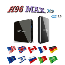 Smart tv set top box H96Max x2 Android 905X2 HDMI2.0 TV Boxes google Media Player belgium support iptv m3u Youtube