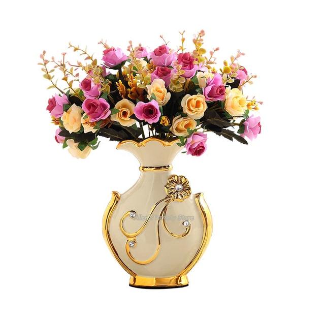 European Style Flower Gilded Holder Decor Ceramic Flower Vase