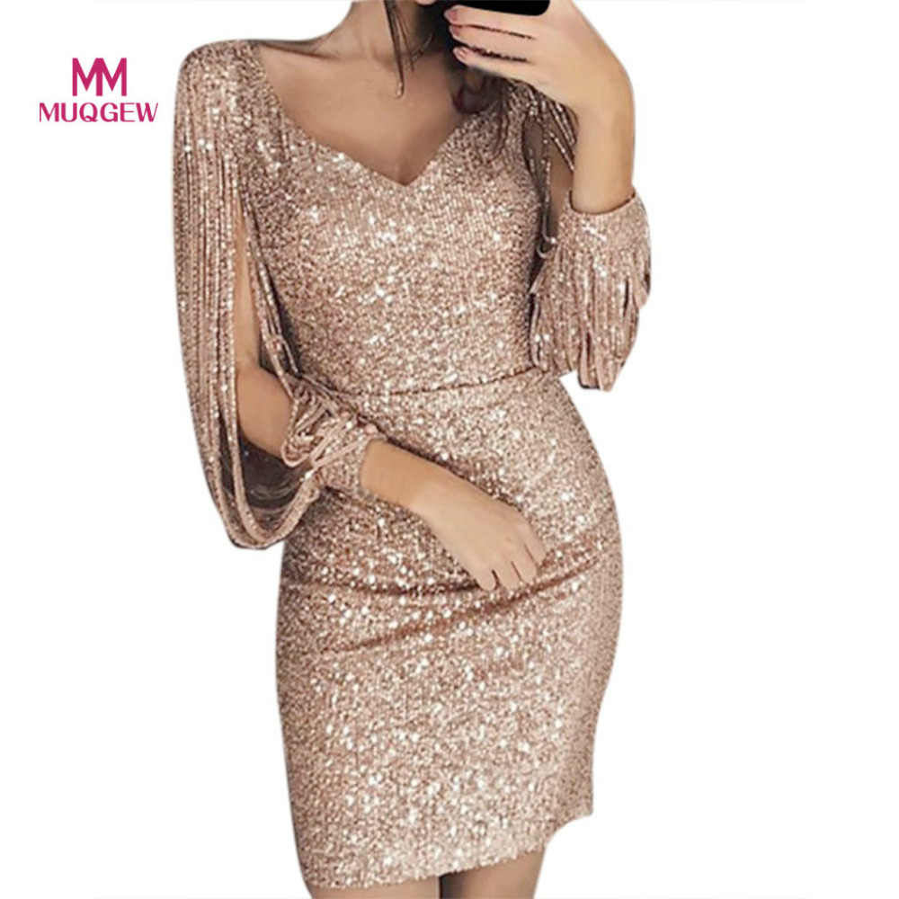 e623f89b87f3 MUQGEW Women Party Club Dress Sexy Slim Solid Deep V-Neck Sequined  Stitching Shining Club