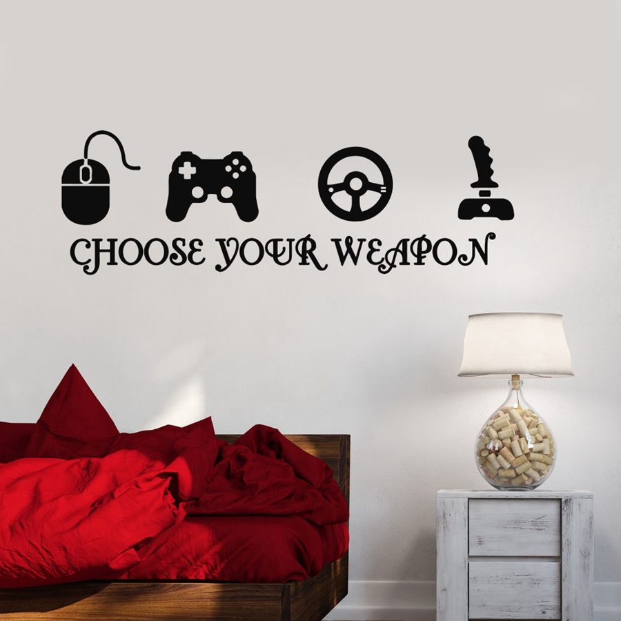 gamer vinyl wall stickers video game play room joystick e sports wall decals decor in wall. Black Bedroom Furniture Sets. Home Design Ideas