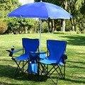 Giantex портативный складной двойной стул для пикника с зонтиком  Настольный кулер  пляжный походный стул  уличная мебель OP3474