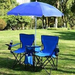 Giantex Draagbare Vouwen Picknick Dubbele Stoel W/Paraplu Tafel Koeler Strand Camping Stoel Tuinmeubilair OP3474