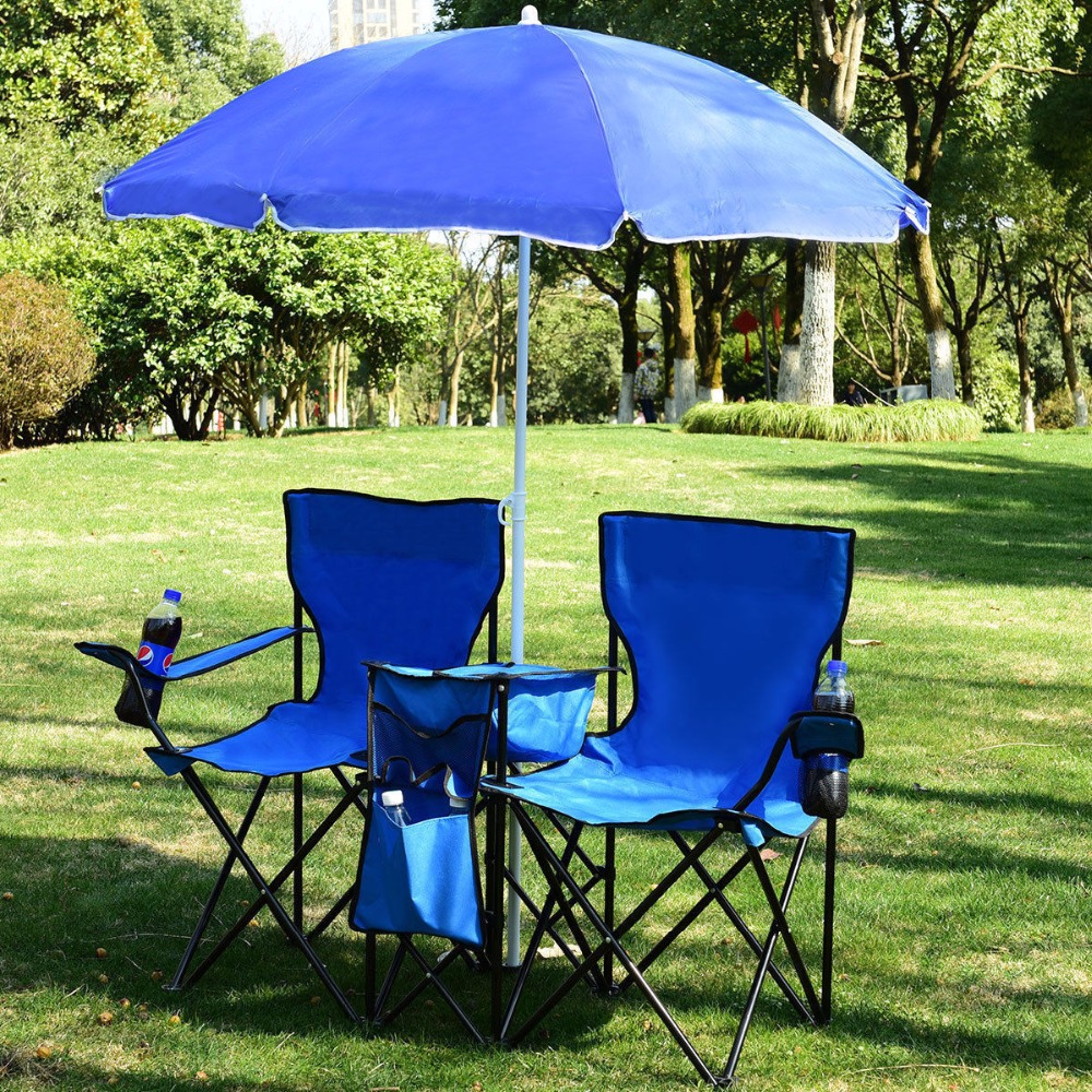 Double Camping Chair Us 44 99 Giantex Portable Folding Picnic Double Chair W Umbrella Table Cooler Beach Camping Chair Outdoor Furniture Op3474 In Beach Chairs From