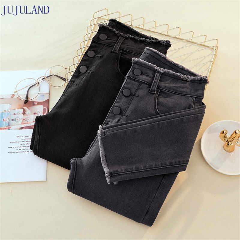 JUJULAND Jeans Mujer pantalones de mezclilla Color negro mujer Jeans Donna Stretch Bottoms Feminino pantalones ajustados para mujer Pantalones 8253