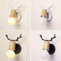 Nórdico veado chifres led lâmpada de parede moderna alce madeira maciça luz e27 lâmpada parede arandelas para casa decoartion quarto foyer