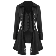Kenancy Autumn Winter Gothic Style Women Long Coats Solid Triple Buttons Thick Tailcoat Lapel Lace Slim Party Female Outwear New
