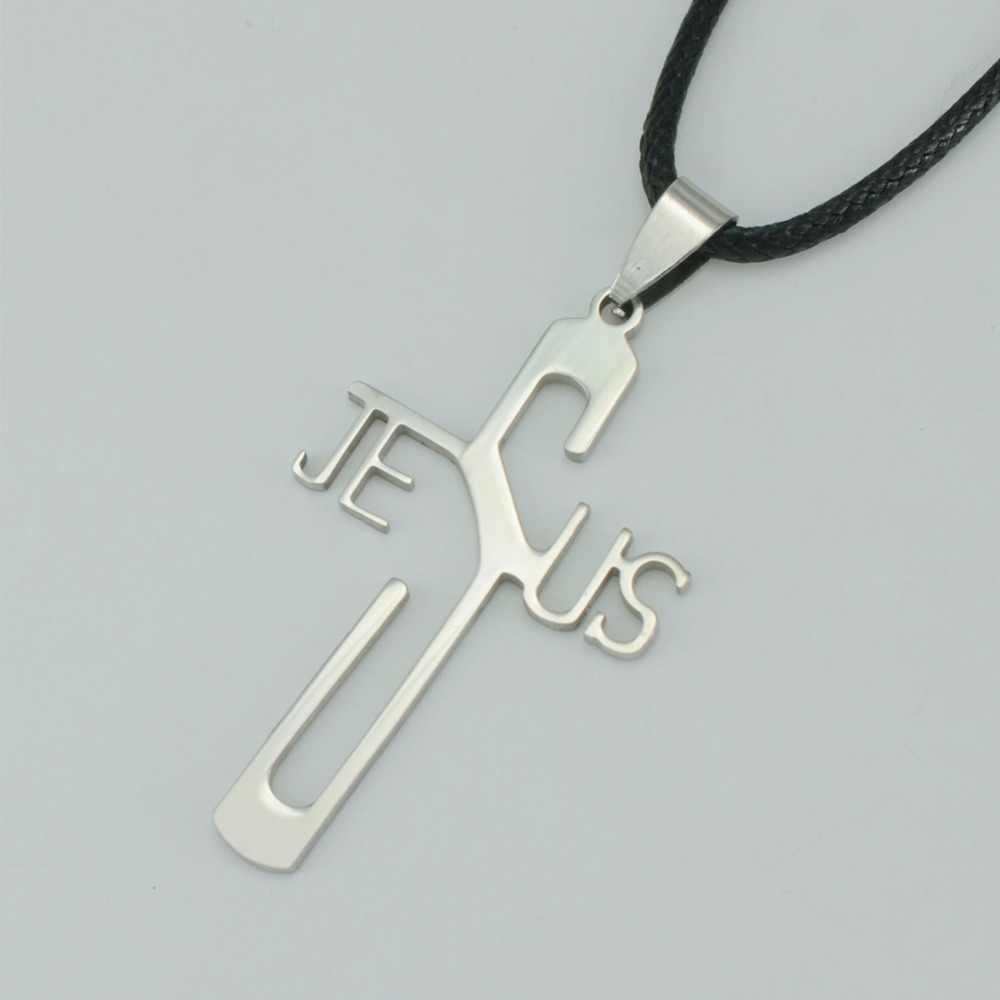 Anniyo ze stali nierdzewnej wisiorek z ukrzyżowanym jezusem Rope Chain, S/S krzyże krucyfiks biżuteria Christian naszyjniki dla kobiet/mężczyzn #002408