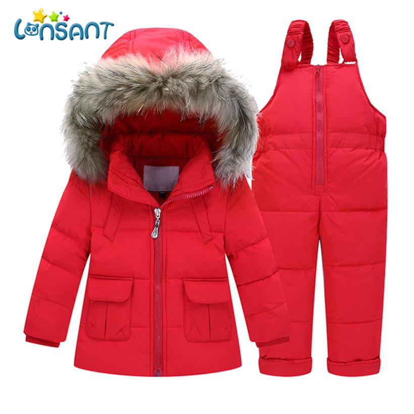 LONSANT Clothing Sets Unisex Baby Boys Girls Clothes Set Solid Thick Solid Coat Jumpsuit Winter Windproof Kids Suits L2935 2016 winter new soft bottom solid color baby shoes for little boys and girls plus velvet warm baby toddler shoes free shipping