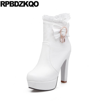 Bow Lace Winter White Wedding Boots Shoes Women Ankle Extreme Platform High Heel Big Size Bridal Cheap 10 Waterproof Rhinestone