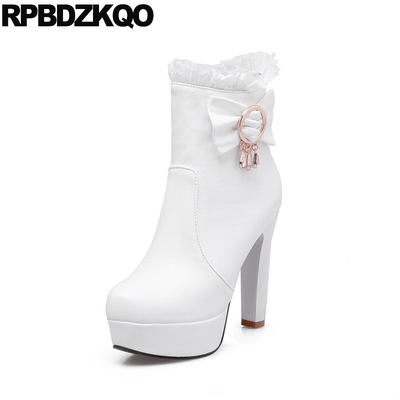 Bow Lace Winter White Wedding Boots Shoes Women Ankle Extreme Platform High Heel Big Size Bridal Cheap 10 Waterproof Rhinestone image