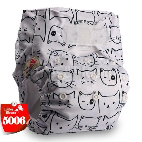 [Littles&Bloomz] Детские Моющиеся Многоразовые, настоящая стандартная ткань, застежка-липучка, карман для подгузников, пеленки, обертывание, подходит для рождения в горшке - Цвет: 5006