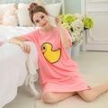 2017 Verão 100% Algodão Mulheres Impresso Camisola Fêmea Solta Outwear Bolsos Senhora Camisola Menina Roupa Em Casa Sleepwear Tamanho 3X