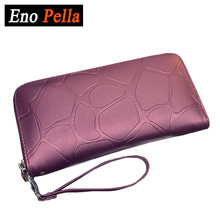 EnoPella Purse Wallet Female Famous Long Ladies Clutch Brand Clutch Card Holder Stone PU Leather Wallet