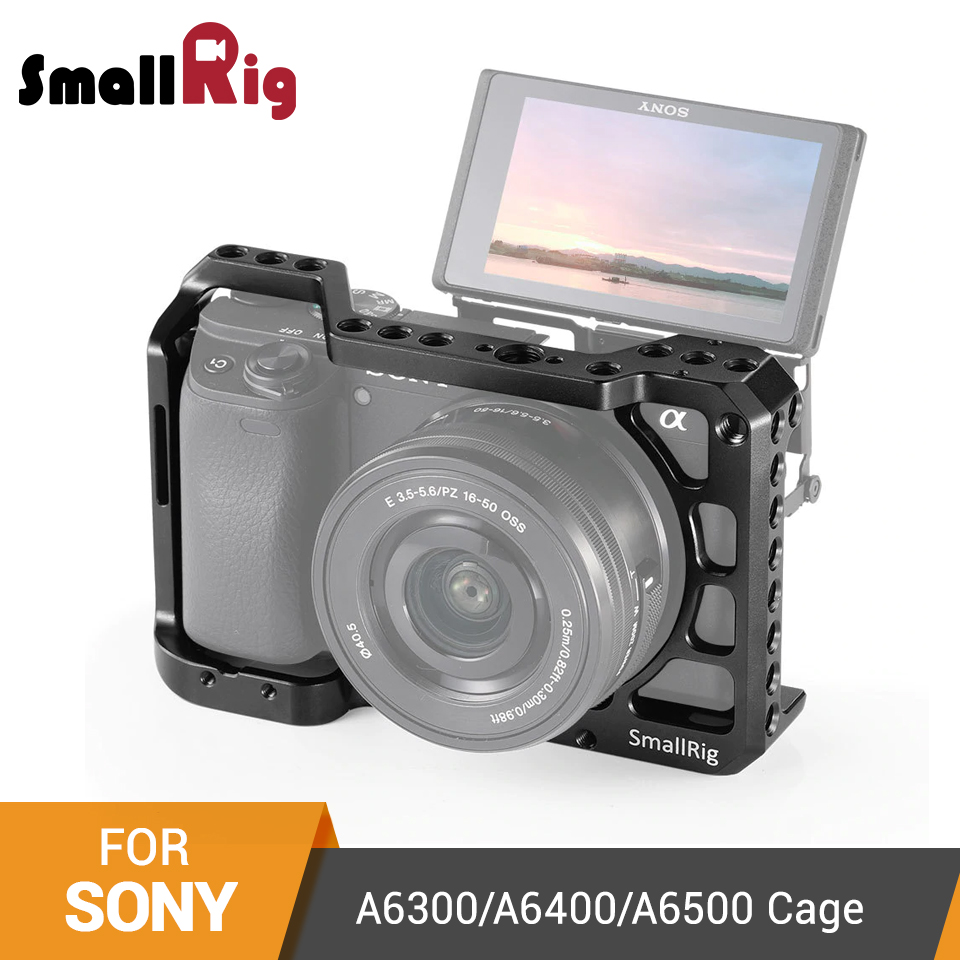 SmallRig A6400 DSLR Cage For Sony A6300/ A6400 /A6500 Form-Fitted Camera Cage With 1/4' And 3/8' Threading Holes - 2310
