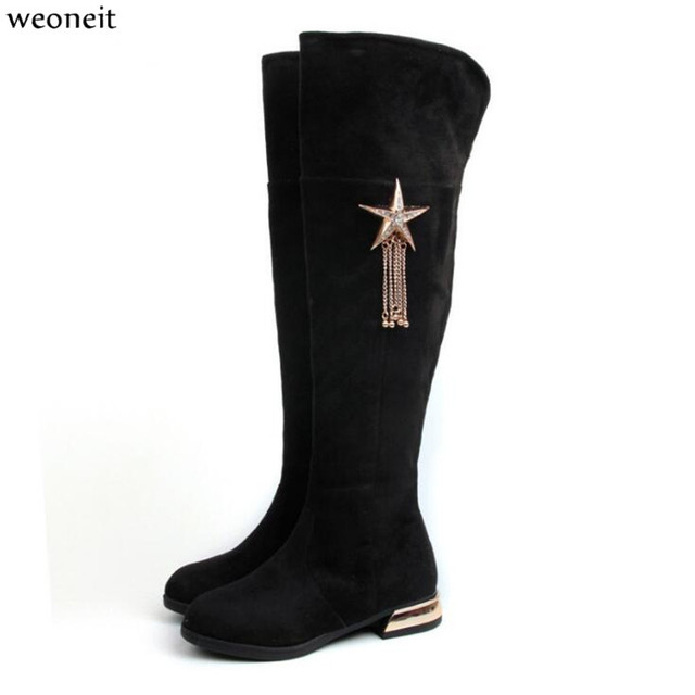 14a646db3 Weoneit Snow Boots Autumn and Winter Knee High Boots Newest Fashion High-legth  Kids Girls Shoes Size 26-37 Hot Sale