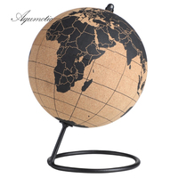 Aqumotic Cork Globe Holder Rubber Bark Unique Message Board Cork World Globes with Pins 3d Travel Ball Wine Coole Good Earth