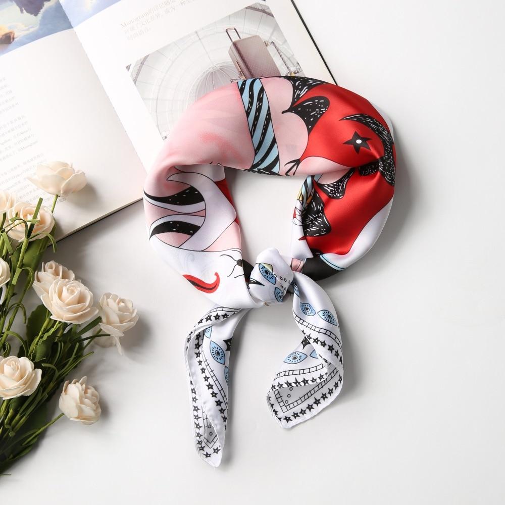 Silk   Scarf   Women 70*70 Small Soft Squares Decorative Multifunctional Head   Scarf   Multicolor Stripe Print Kerchief Neck Shawl   Wrap