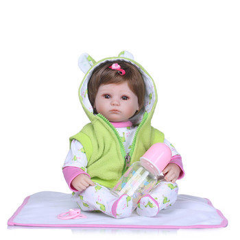 Bebe doll NPK girl dolls silicone reborn baby doll toys 40cm cute girl newborn babies with nice clothing  child gift toy doll