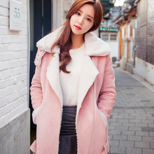 Winter Hot Sell Women s Long Faux Suede Cotton padded Clothes Woman Thick Pure Color Warm
