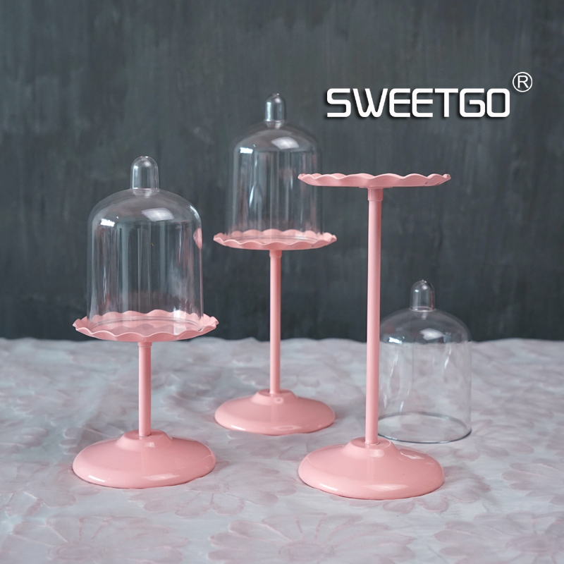 Sweetgo Mini Cup Cupcake Stand With Pc Dome Cover Pink