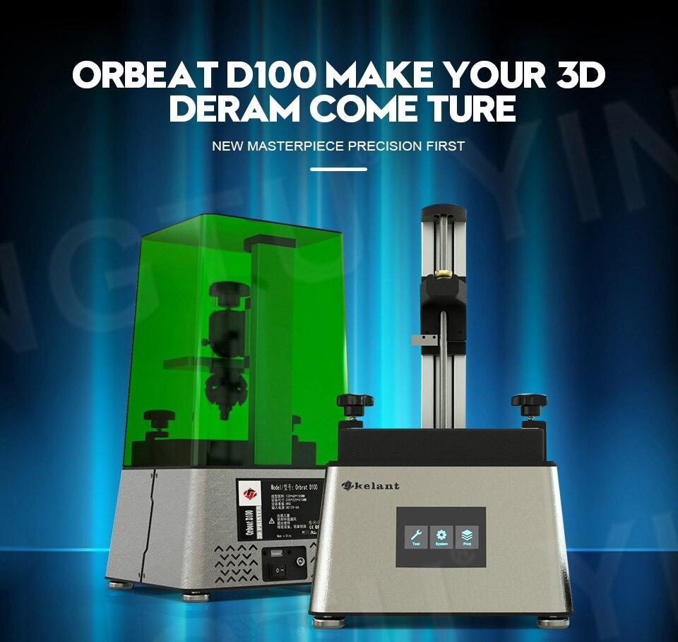 Mise à niveau Kelant D100 UV imprimante 3D LCD résine photonique assemblée SLA photonique 3.5 ''imprimantes 3d résine de bureau Impresora DLP 405nm