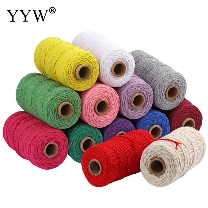 Yyw 100m 100% 3mm cabo de algodão colorido corda bege torcido artesanato macrame corda diy casa têxtil casamento decorativo fornecimento