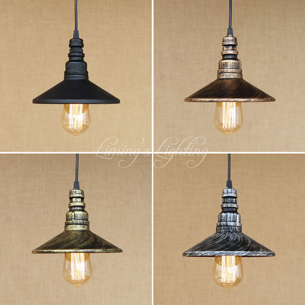 4 Color Rust Loft Industrial Iron Water Pipe Vintage Pendant Lamp Cord E27 Antique Rust Lights For Home Cafe Bar Dining Room