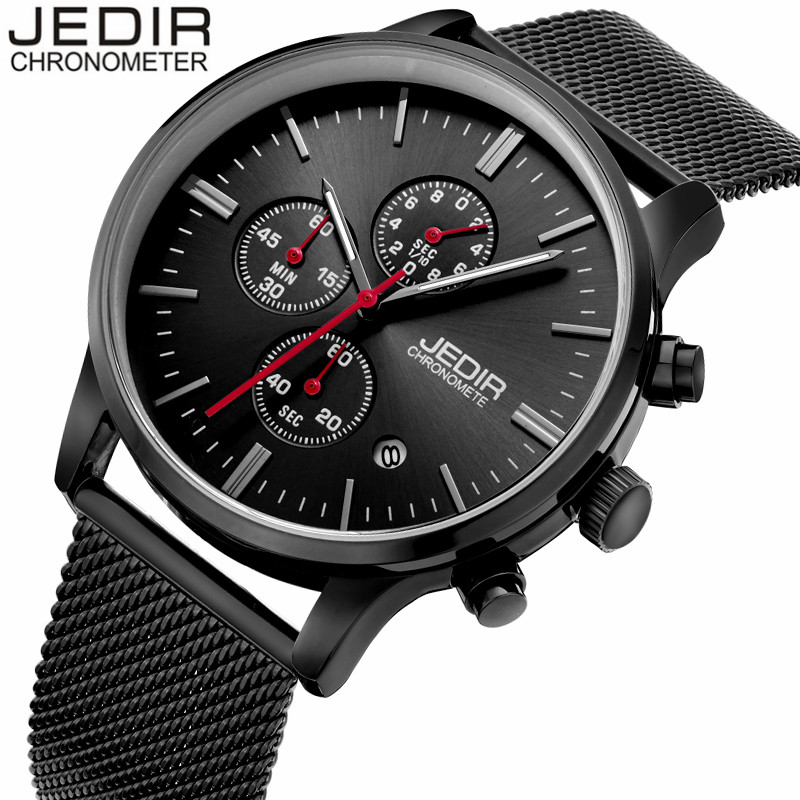 JEDIR Top Luxury Brand Watches Men Business Stainless Steel Mesh Strap Quartz-Watch Ultra-Thin Dial Clock Man Relogio Masculino rosefieltop luxury brand womens watches men stainless ultra thin watch steel mesh strap band quartz watch thin dial clock 2017