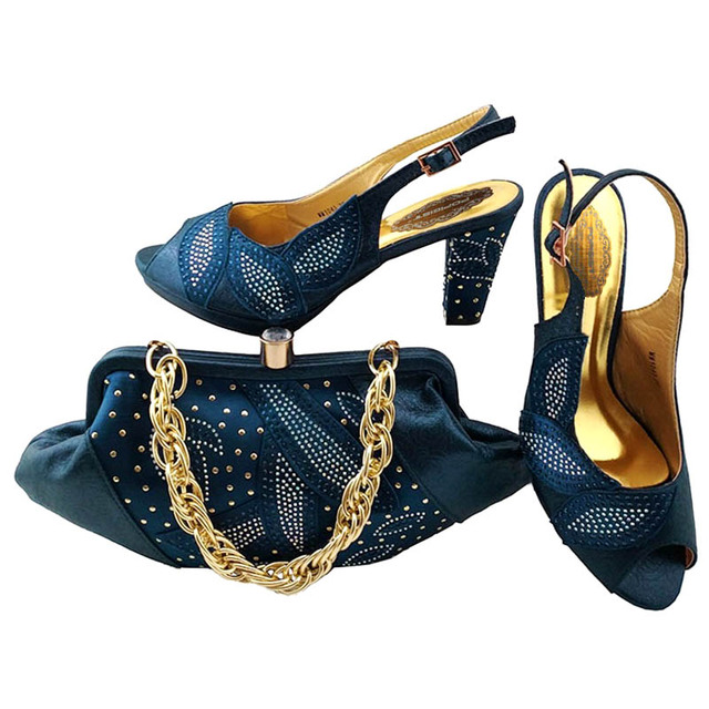 e949637ef405 New Navy blue shoes with bag 2018 Italian Style Shoe With Bag Set Africa  Style Ladies Shoes And Bag Set For Fashion Dress