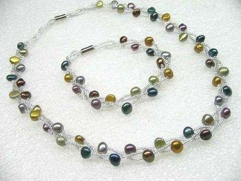 Wholesale 3line multicolor freshwater pearl necklace  bracelet set magnetic lasp free shipping
