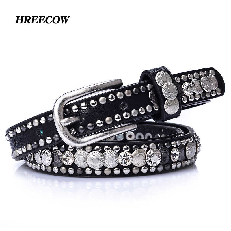 Luxury Rivet Punk Rock Belt Pin Buckle Cowskin Genuine Leather Handcrafted Cintos Women Female Hip Hop Strap Thin Dress Belts