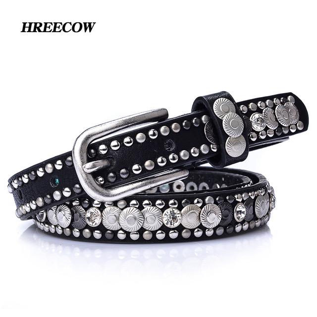 Luxury Rivet Punk Rock Belt Pin Buckle Cowskin Genuine Leather Handcrafted Cintos Women Female Hip Hop Strap Thin Dress Belts