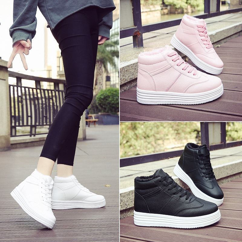 2017 new Plus cashmere sneakers women winter cotton shoes students warm Korean wild flat white running shoes female basket femme