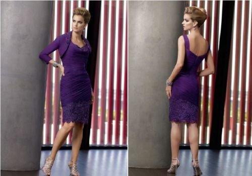 Free Shipping Vestido De Festa Madrinha 2016 New Fashionable Hot Gorgeous Purple Short Mother Of The Bride Dresses With Jacket