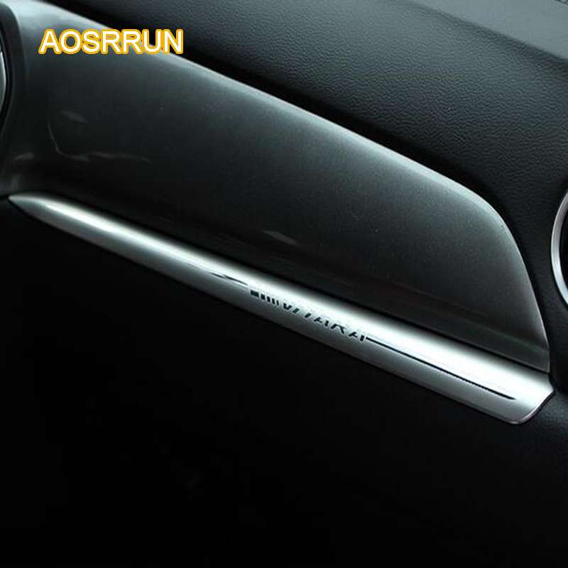 AOSRRUN Stainless steel center controls the decoration of the dashboards Cover Car accessories For Suzuki vitara 2016 2017 stainless steel full window with center pillar decoration trim car accessories for hyundai ix35 2013 2014 2015 24