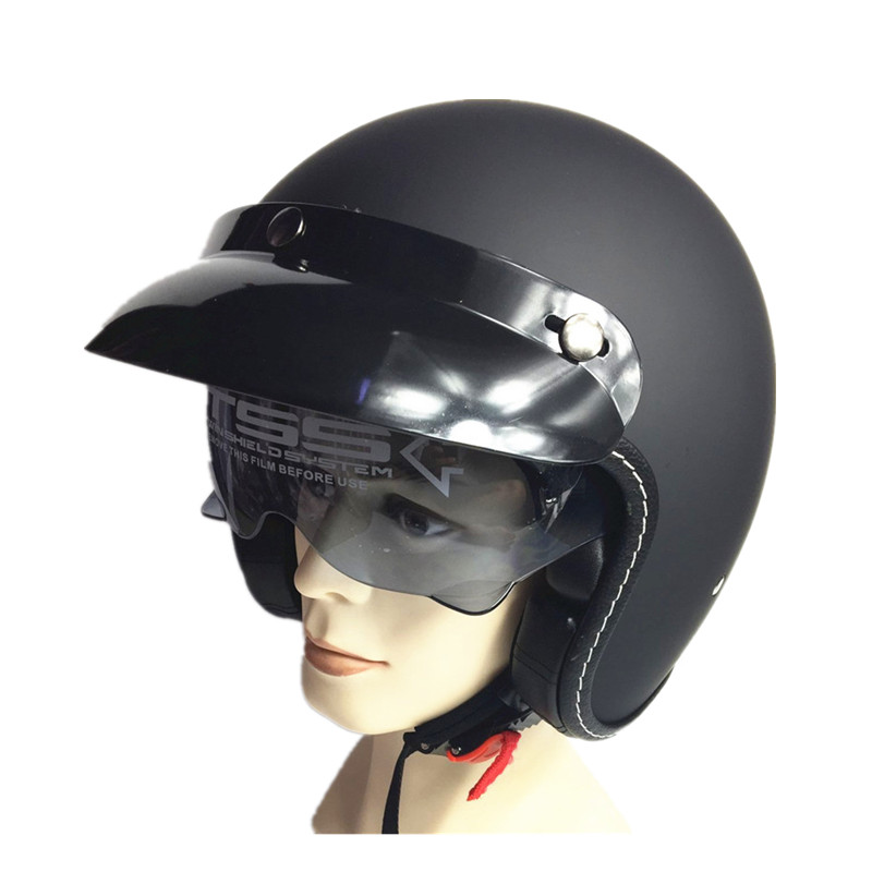 Vintage motorcycle helmet Harley open face helmet Retro scooter half helmet moto casco Motocicleta Capacete with inner sunglass