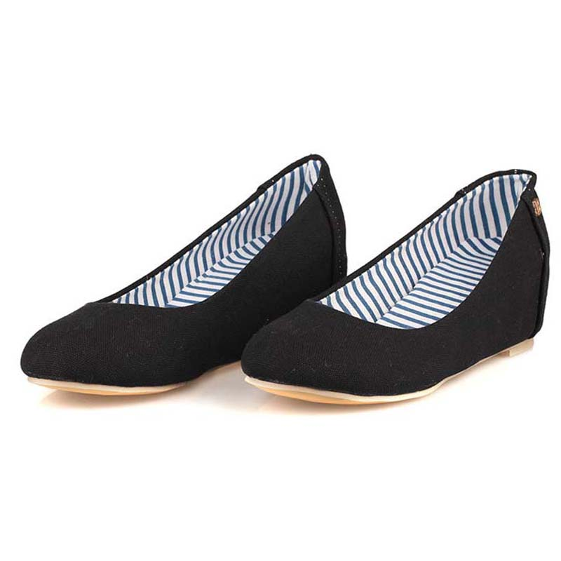 2017 new fashion canvas hidden wedge espadrilles women shoes slip on casual loafers height increasing elevator big size 34-45 hot big size 34 42 shoes slip on round toe fashion seasons women flats canvas espadrilles luxury brand casual ladies loafers