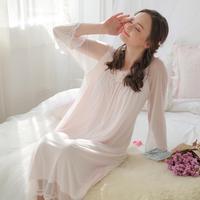 2018 yeni çift örgü seksi perspektif sadece güzel tanrıça prenses pijama kadın pamuk O-Boyun ev giyim gecelik L239
