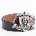 Cinturones de Diseñador Hombres de Alta Calidad de Lujo del cráneo Del Punk Rock de Cuero Genuino Ceinture Homme Hip Hop Pantalones Vaqueros Masculinos Motocicleta Correa de Cintura