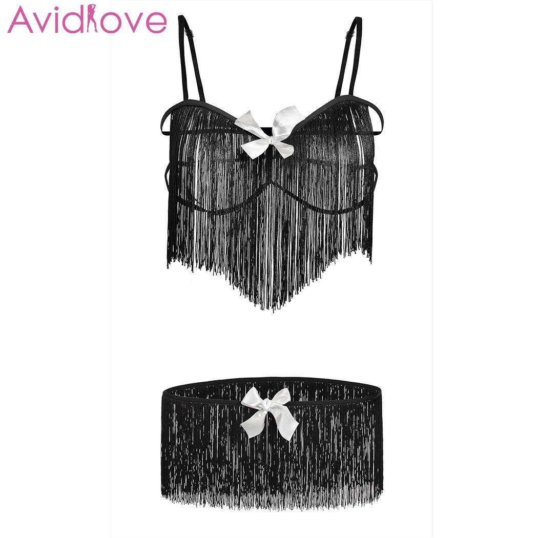 Avidlove Women Open Bra Sexy Set Elastic Fringe Sexy Suit Underwear Fun Strap exotic apparel