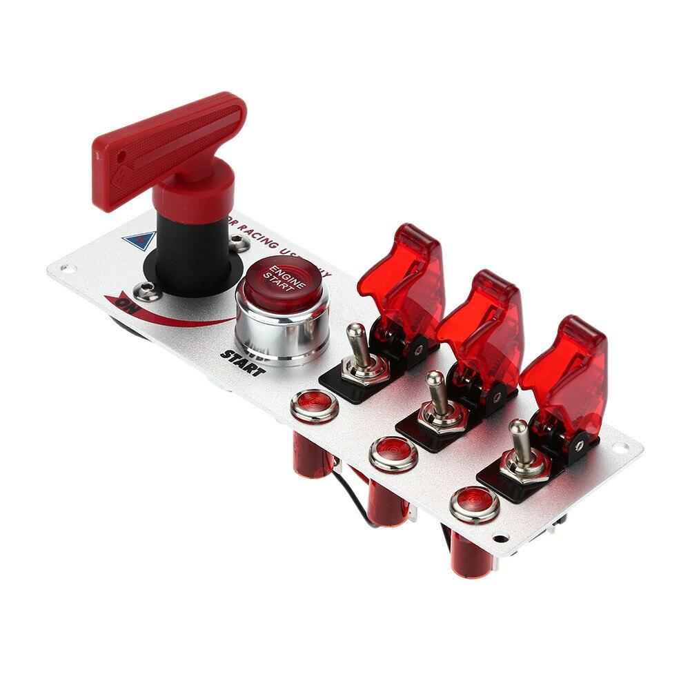 Voiture Modifiée Commutateur D'allumage au Départ Trio Combinaison Interrupteur Rouge Lumière 20A 12 v