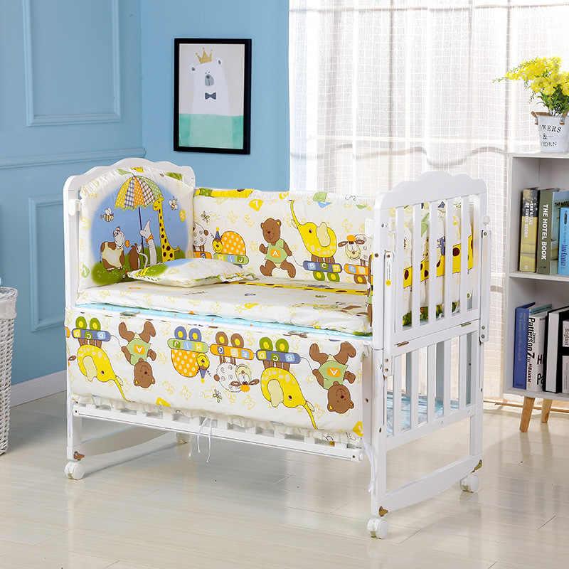 5 ชิ้น/เซ็ตทารกชุดผ้าปูที่นอนผ้าฝ้ายทารกแรกเกิดทารก Crib กันชนความปลอดภัยรั้วเตียง Protector Baby Room Decor ผ้าปูที่นอนกันชน ZT12