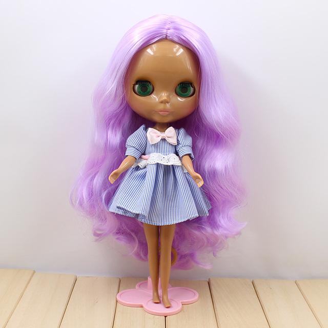 ICY Neo Blythe Doll Purple Curly Hair Dark Skin Regular Body 30cm